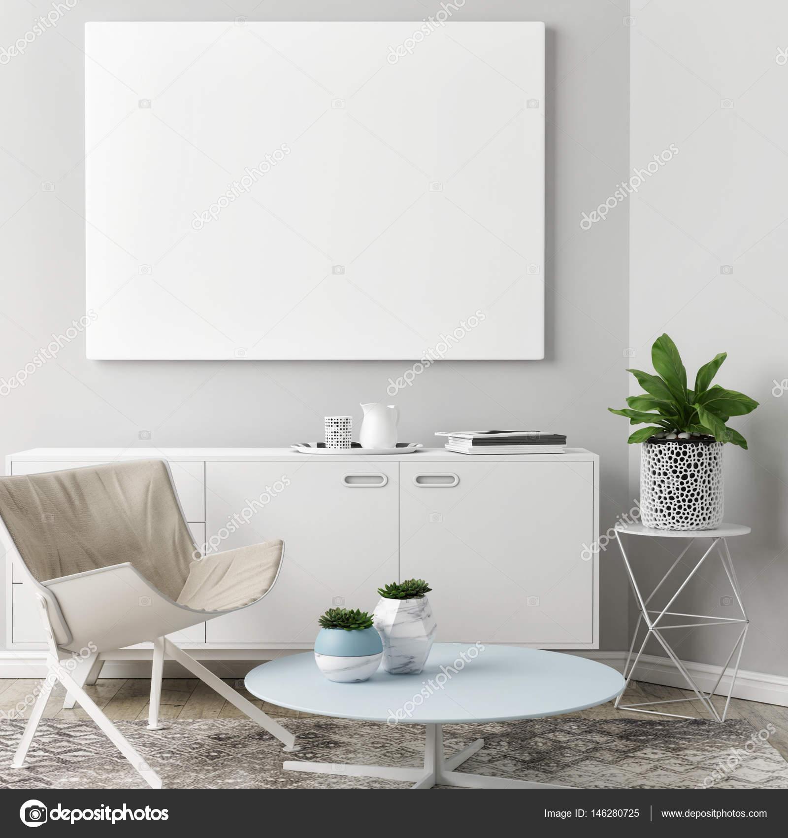 Leere Plakat im Wohnzimmer Hintergrund — Stockfoto © CorDesign ...