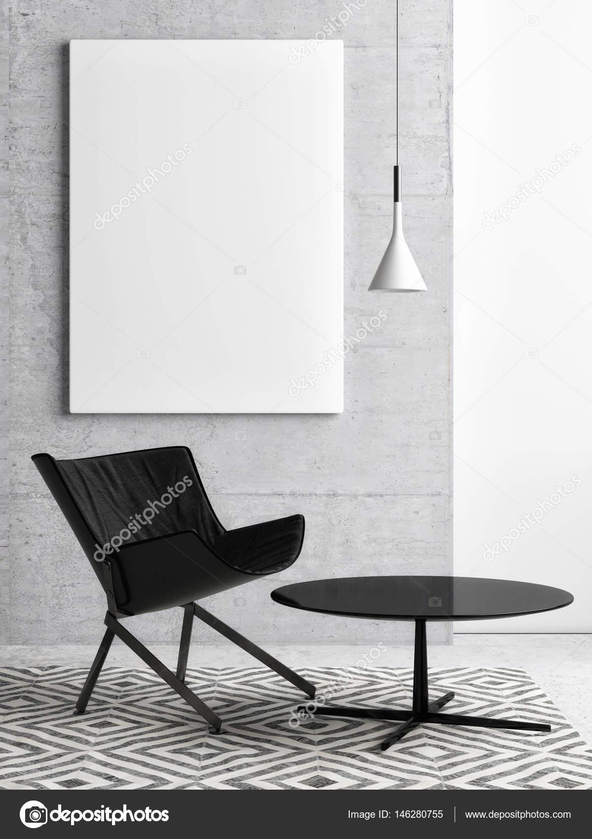 Weißes Plakat Auf Betonwand, Hipster Wohnzimmer, 3d Illustration U2014 Foto Von  CorDesign