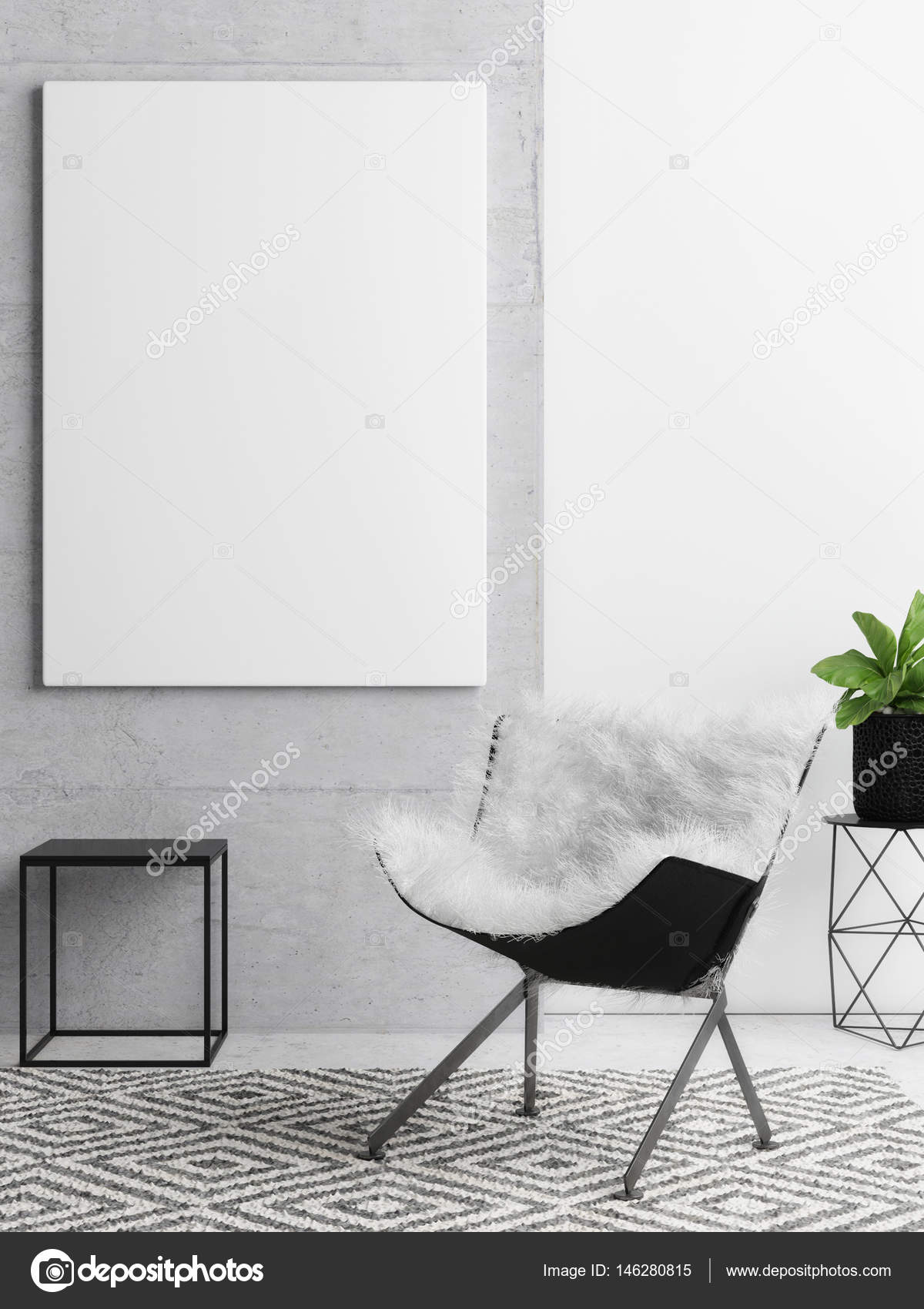 Poster On Concrete Wall Hipster Living Room Background Stock Photo 146280815