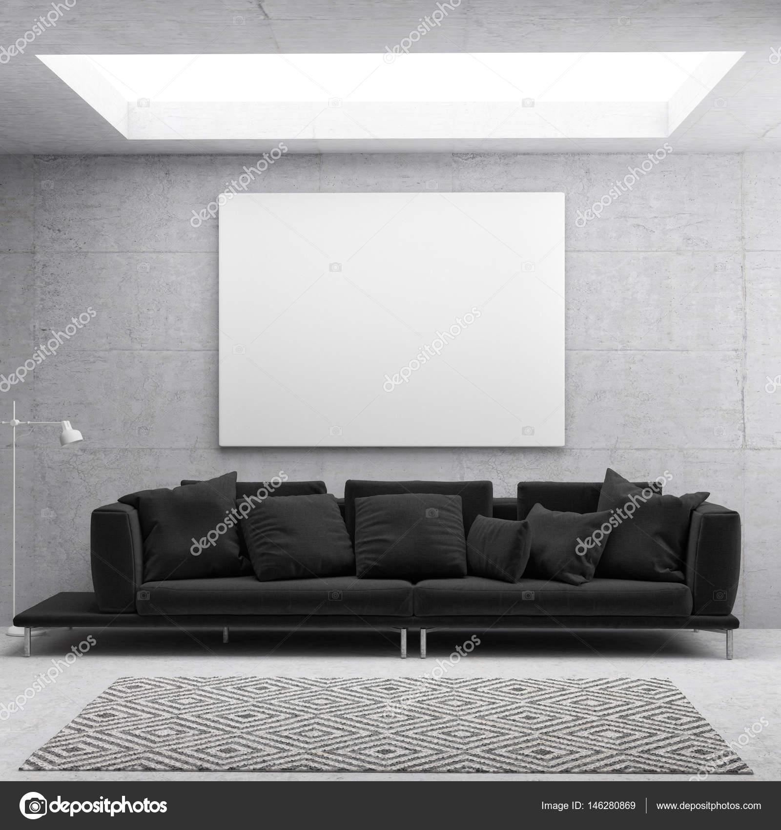 Weißes Plakat im skandinavischen Wohnzimmer Hintergrund — Stockfoto ...