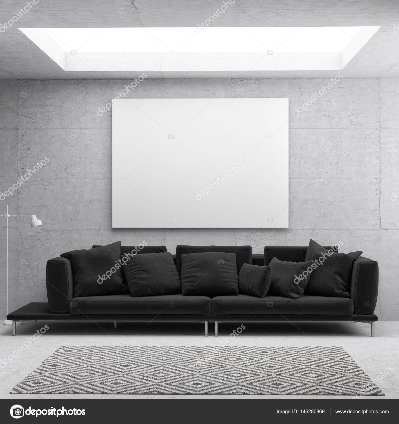 Witte poster in Scandinavische woonkamer achtergrond — Stockfoto ...