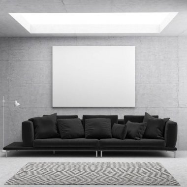 White poster in Scandinavian living room background