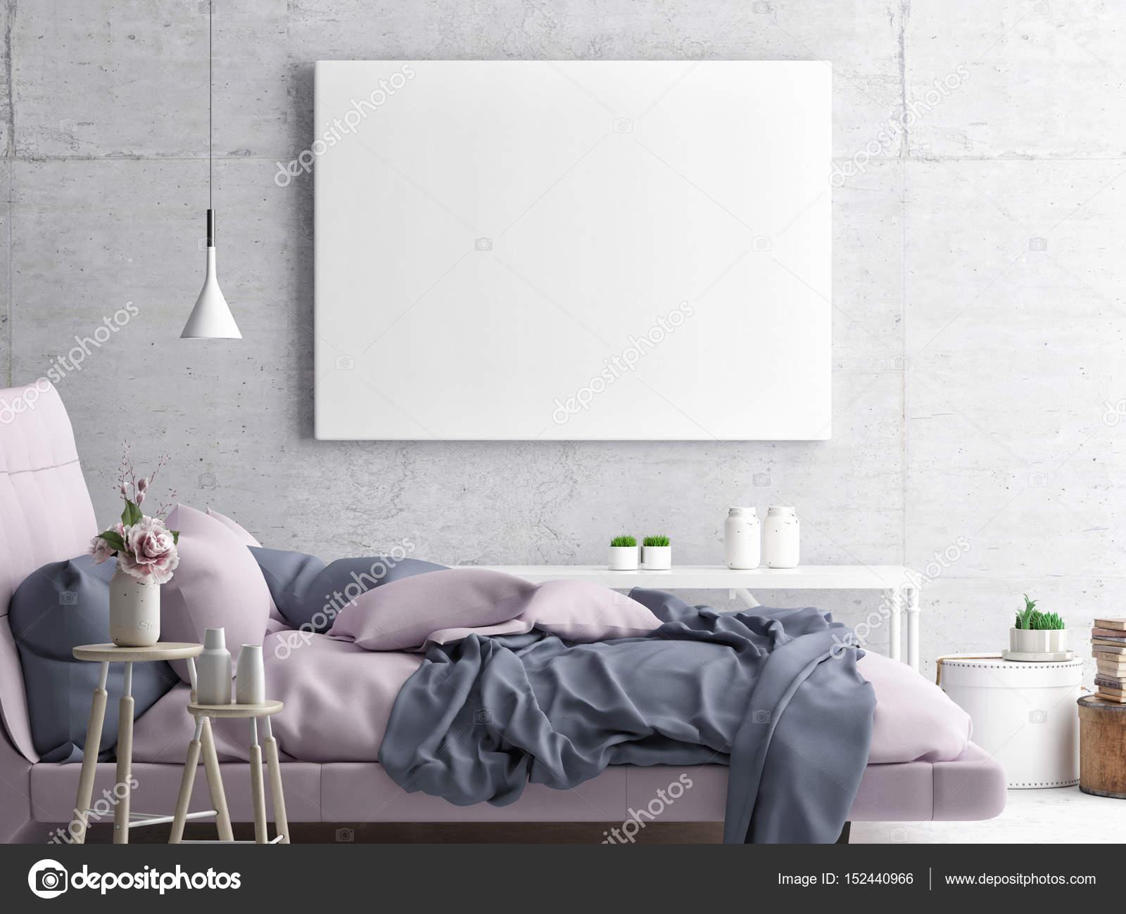 Mock up poster, camera da letto hipster — Foto Stock © CorDesign ...