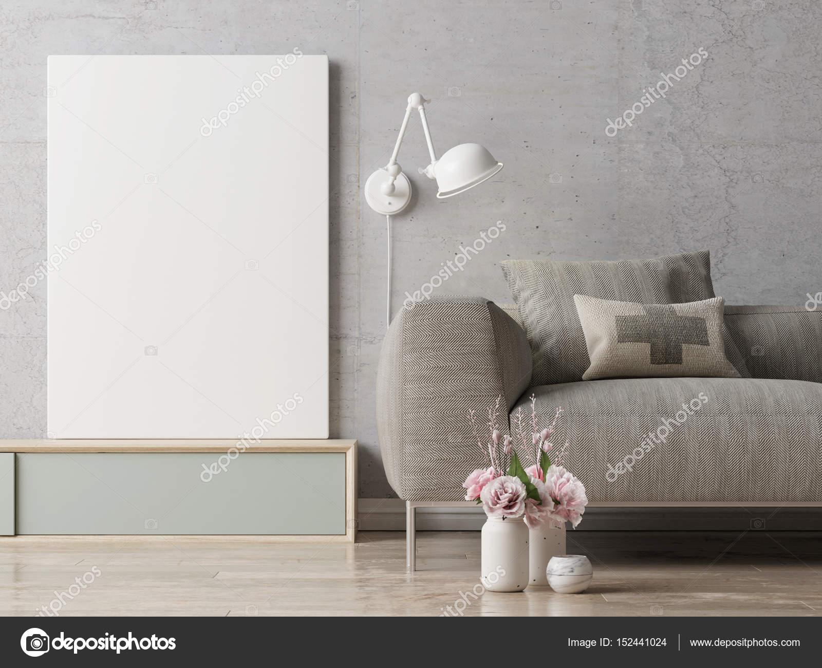Plakat auf Hipster Wohnzimmer Hintergrund hautnah — Stockfoto ...