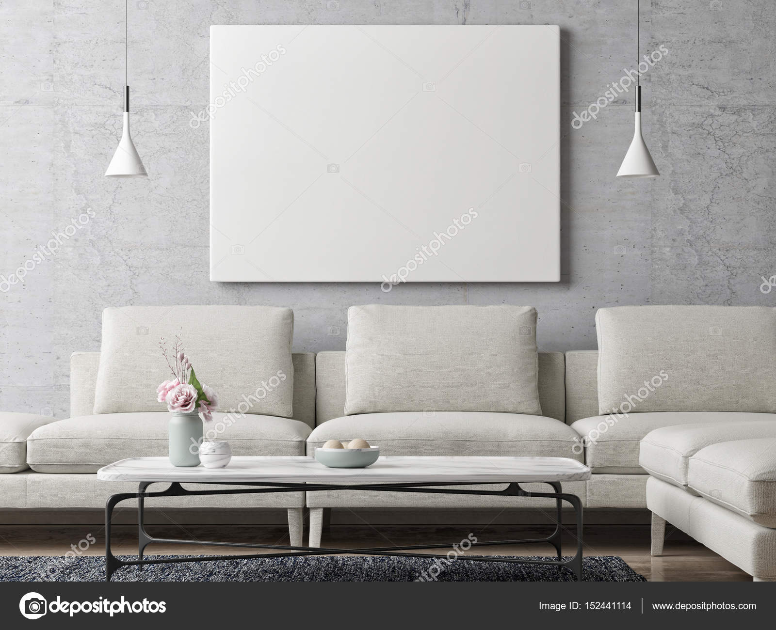 Living Room Background. White poster on concrete wall  living room background Stock Photo