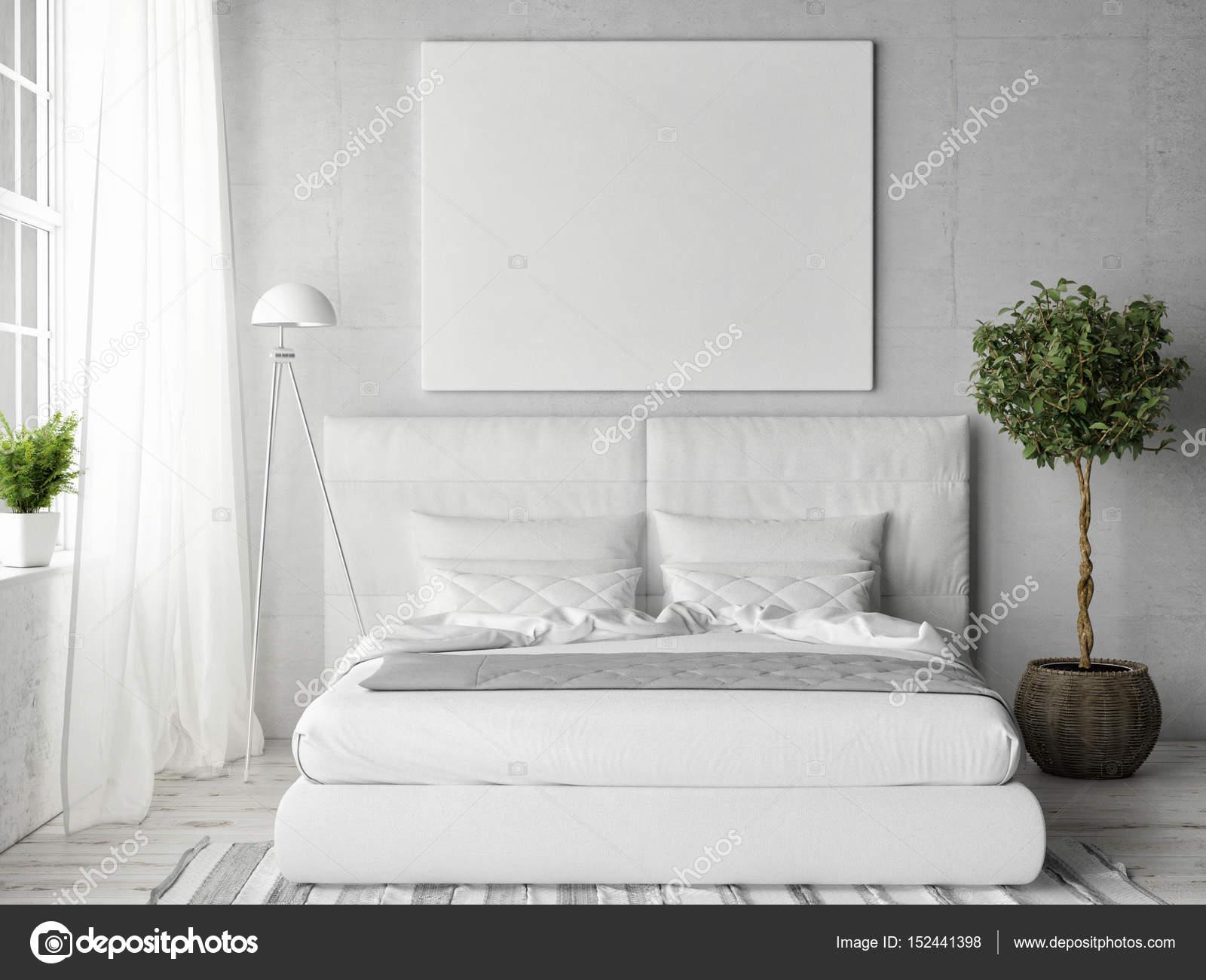 Mock up poster nella camera da letto bianca — Foto Stock © CorDesign ...