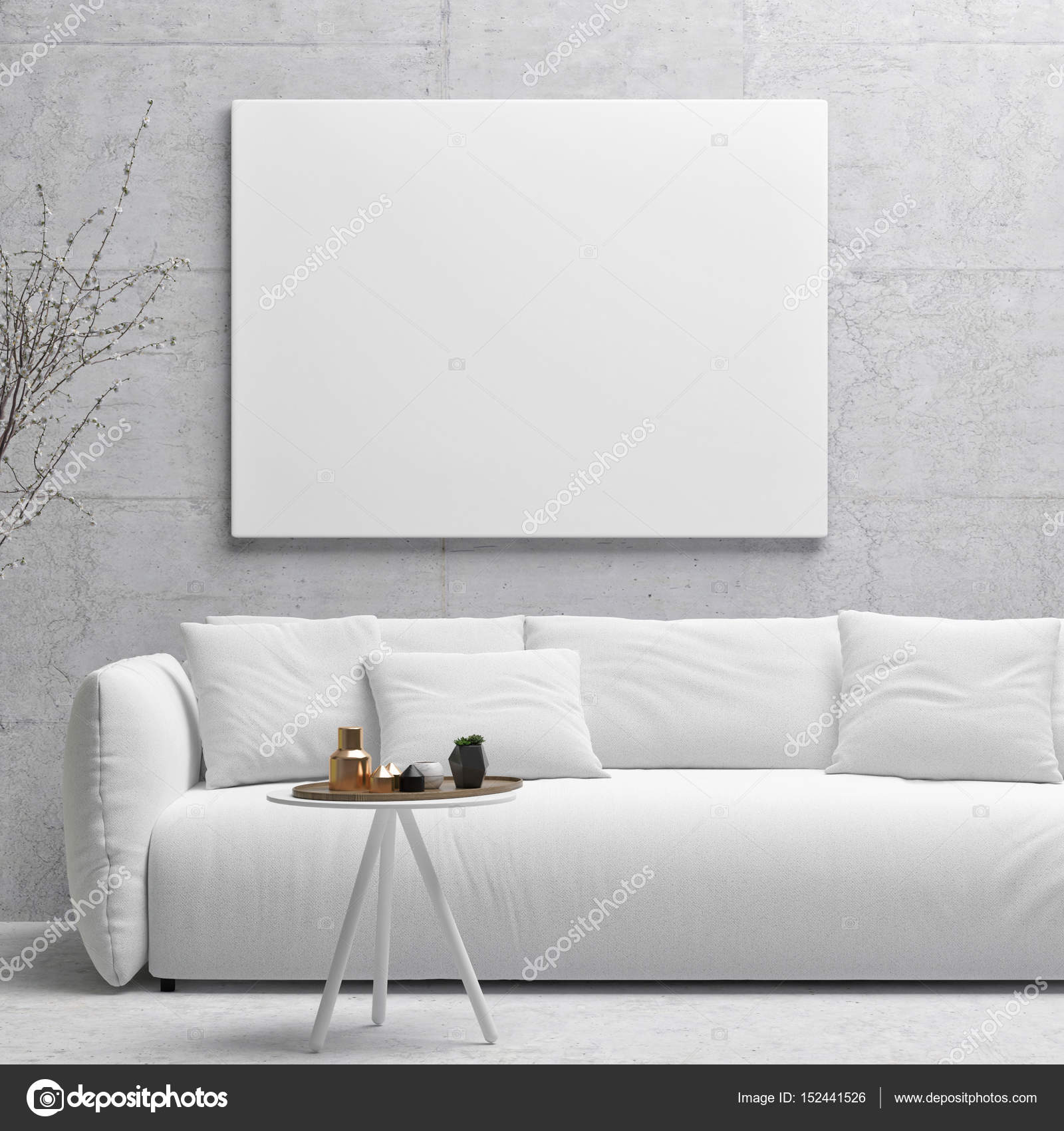 Weißes Plakat Auf Betonwand, Wohnzimmer U2014 Stockfoto