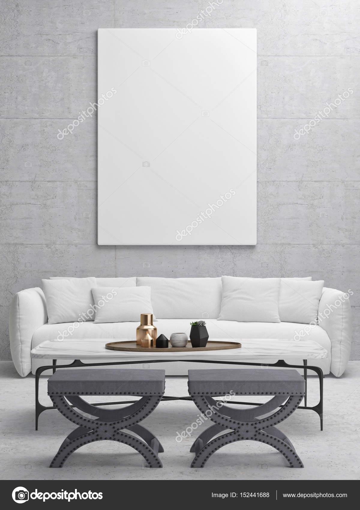 Weißes Plakat In Hipster Wohnzimmer U2014 Stockfoto
