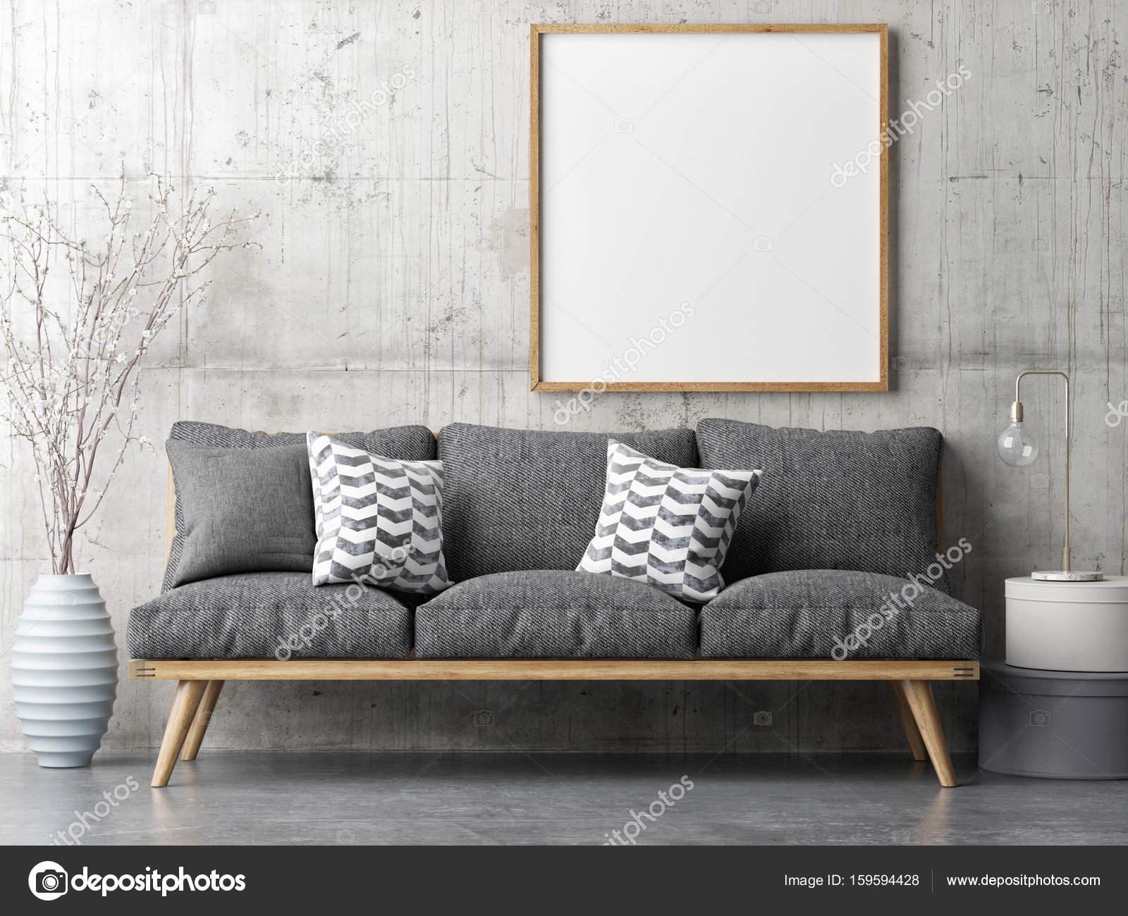 Poster mit retro sofa minimalismus innenraum konzept