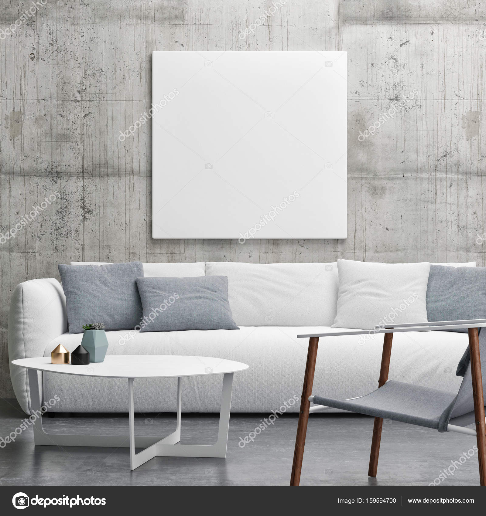 Mock up poster in woonkamer, minimalisme interieur design ...