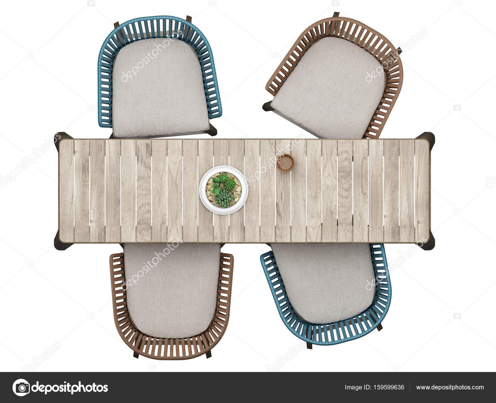 Salontafel Met Webbing.Top View Furniture Mock Up Table With Four Chairs Isolated On