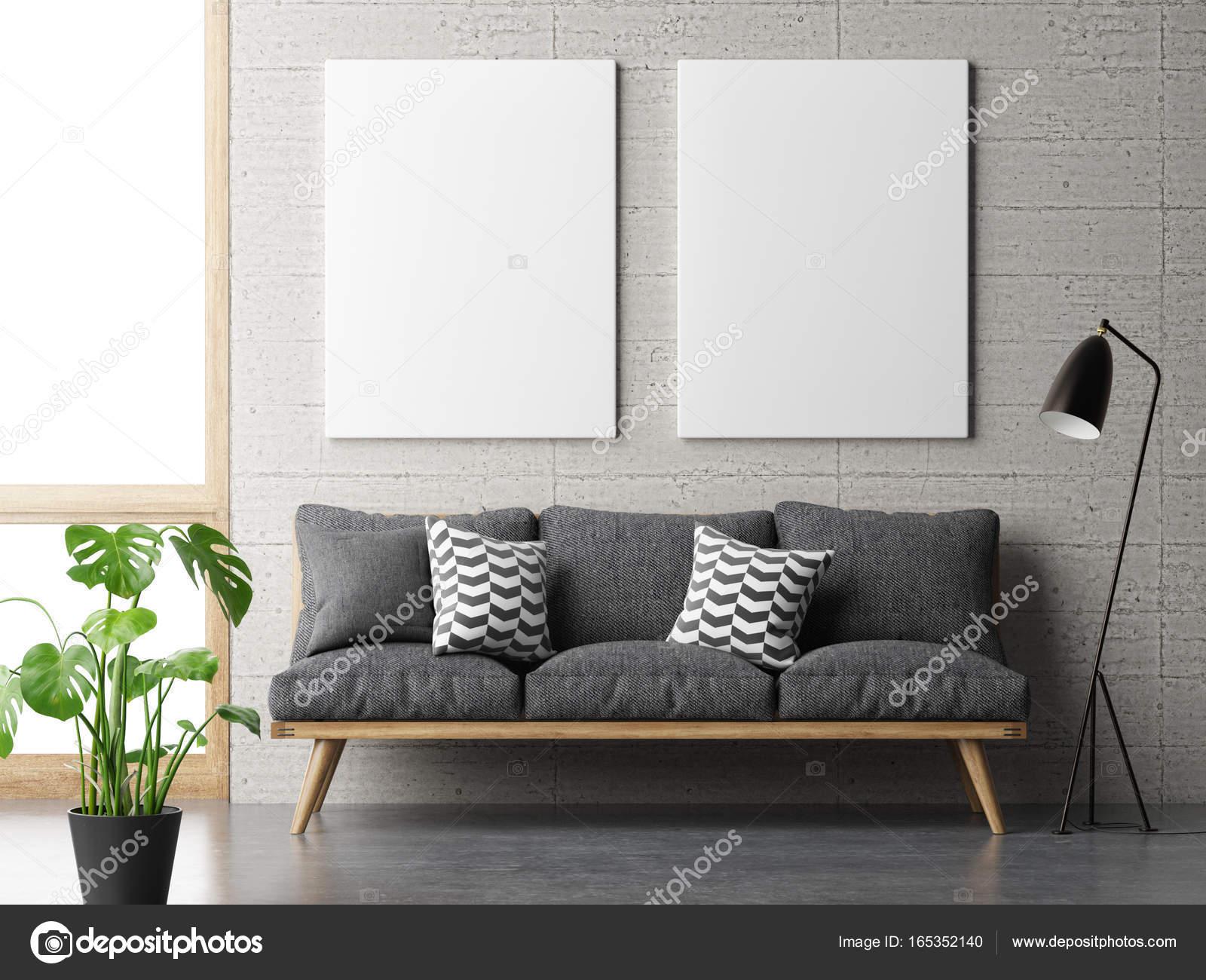 Traum wohnzimmer minimalismus konzept mit mock up poster auf
