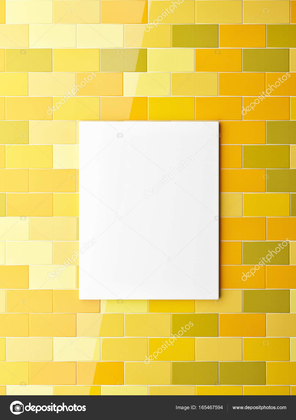 Poster on yellow colors ceramic tiles wall — Stock Photo © CorDesign ...