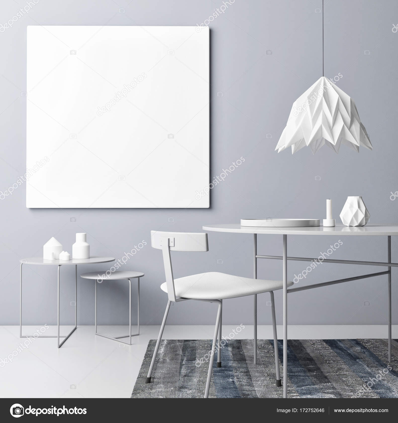 Innenraum Konzept Graue Farbe Mit Mock Up Poster U2014 Stockfoto