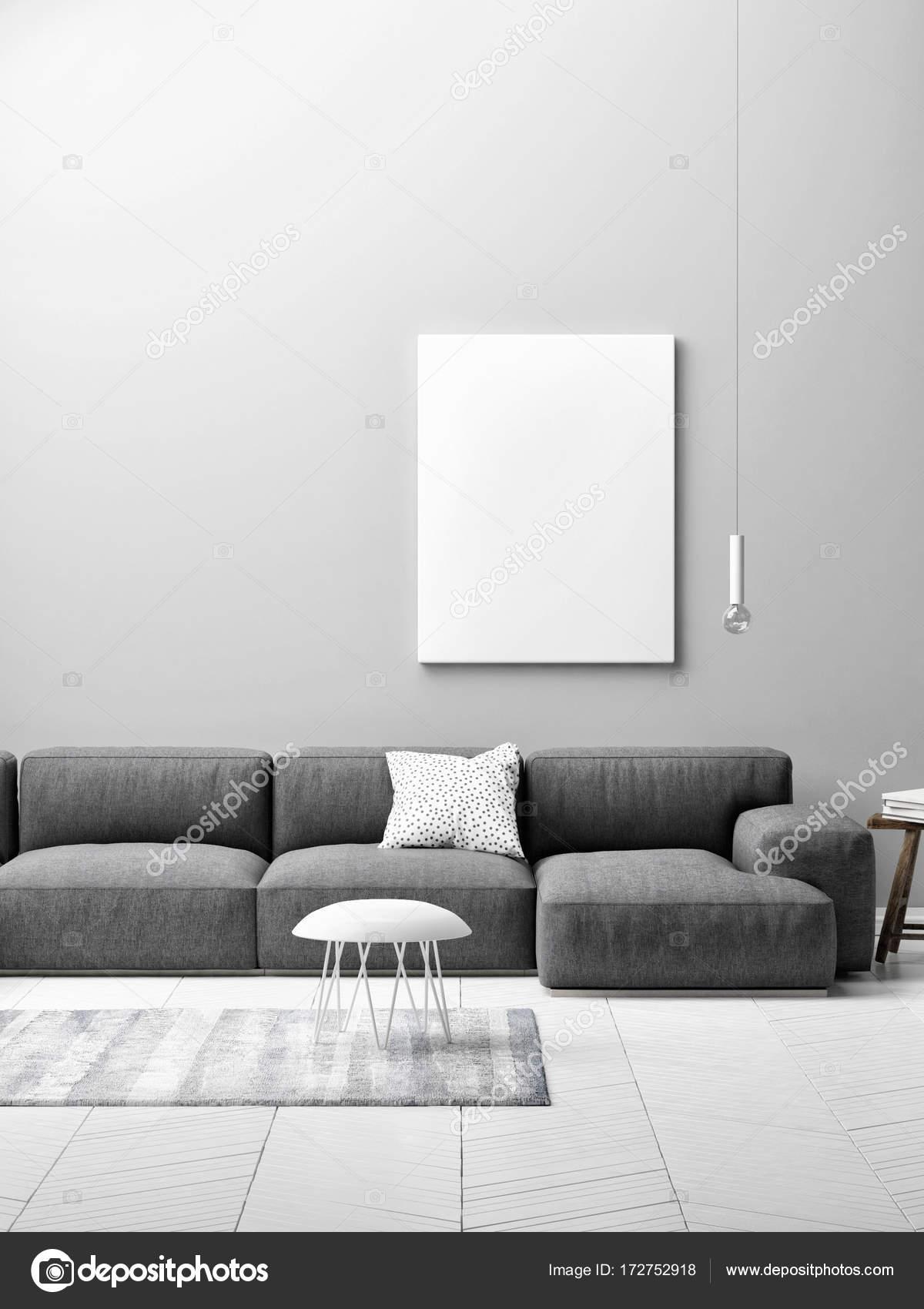 woonkamer concept met mock up poster op grijze muur — Stockfoto ...