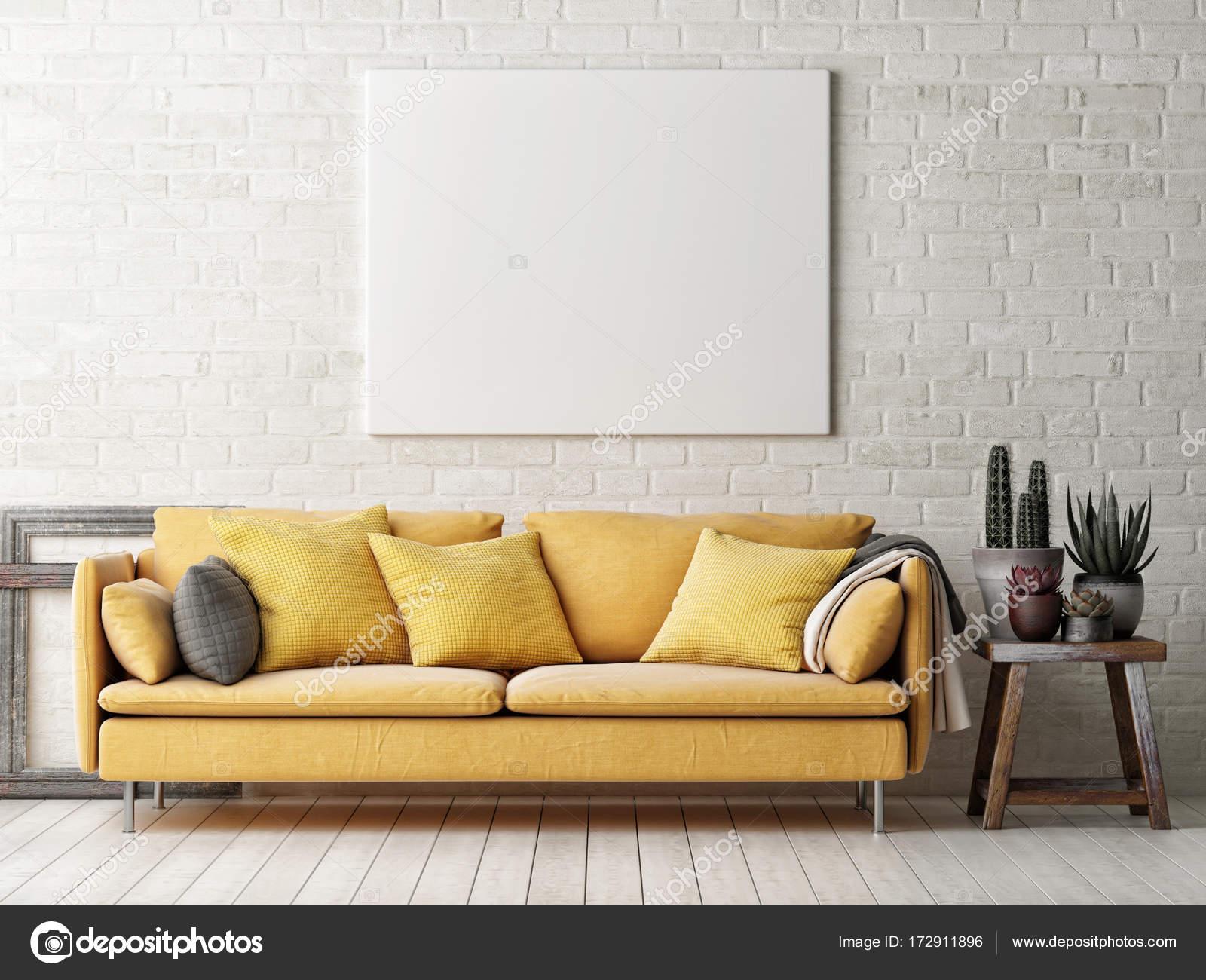 Simulacros de cartel con sofá amarillo, cactus y marco de madera ...