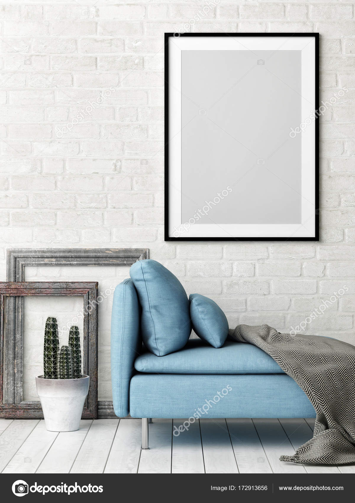 Hipster Living Room Concept With Mock Up Poster, White Brick Wall And Blue  Sofa,