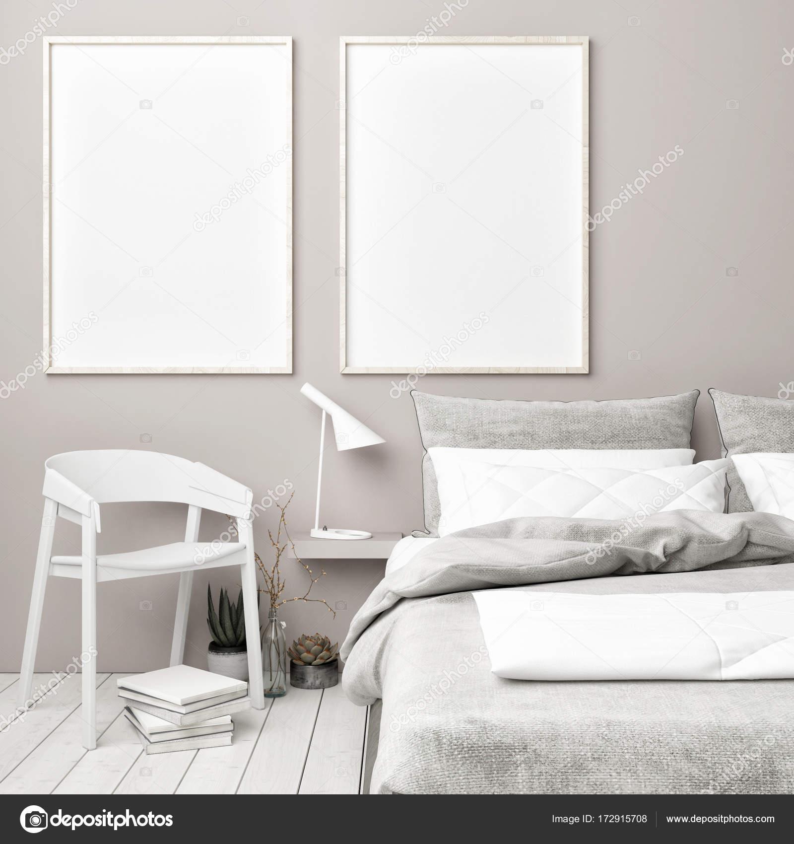 Scandinavische slaapkamer met mock up posters — Stockfoto ...
