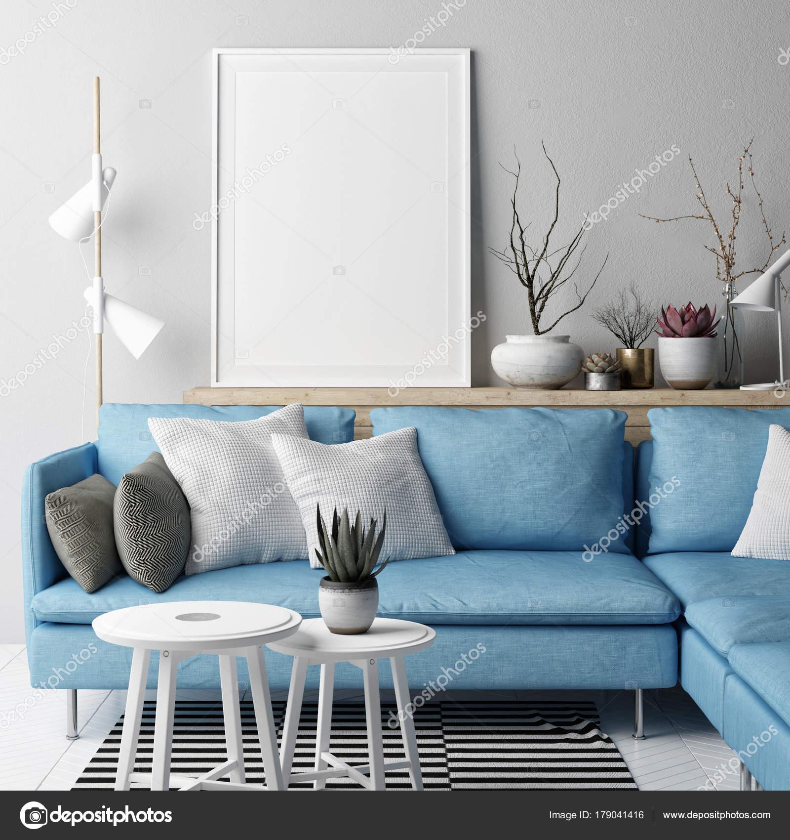 Blickfang Hellblaues Sofa Dekoration Von Mock Poster Wohnzimmer Nordic Konzeption Blaues Auf