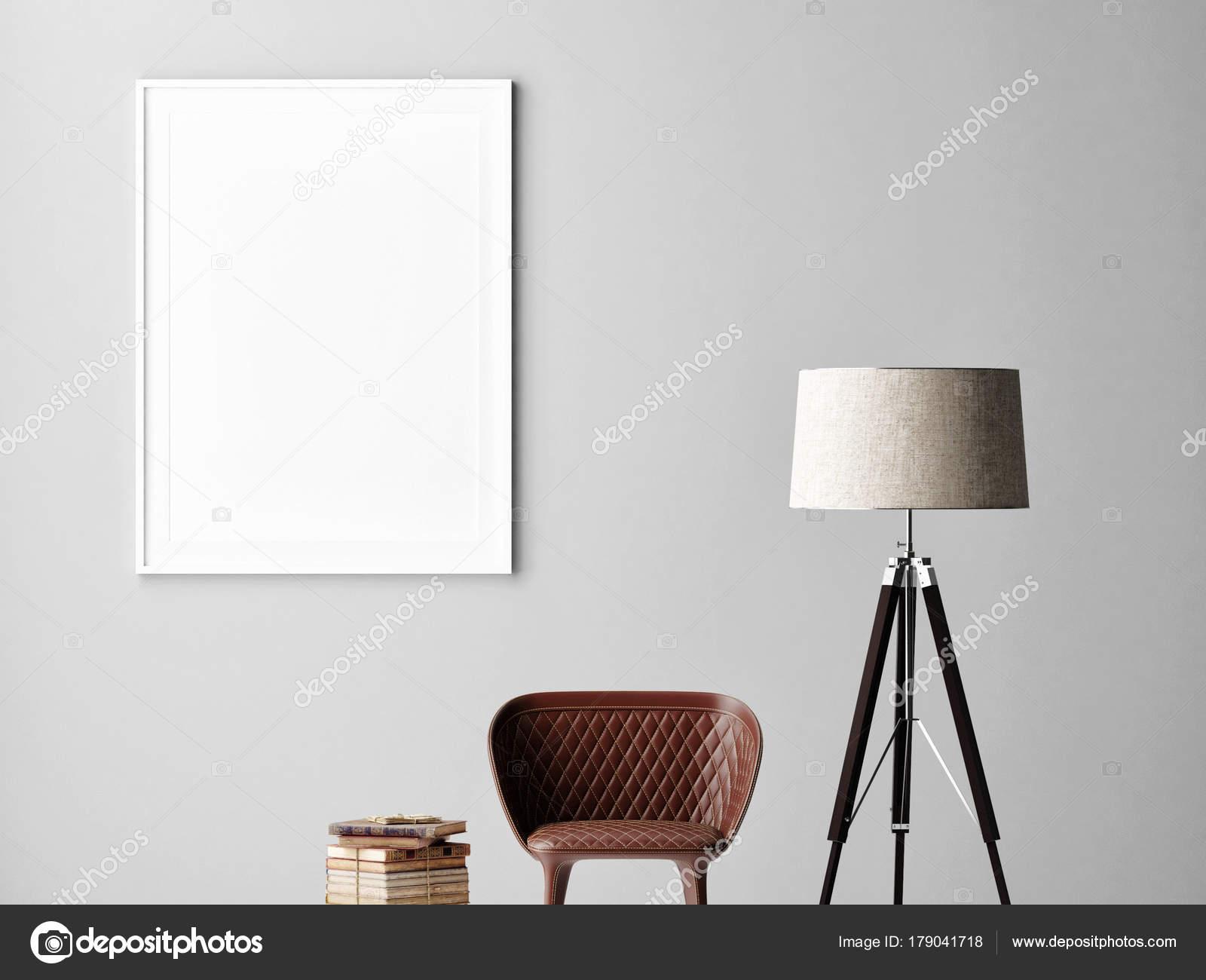 Mock poster grijze muur interieur minimalistisch design lamp stoel