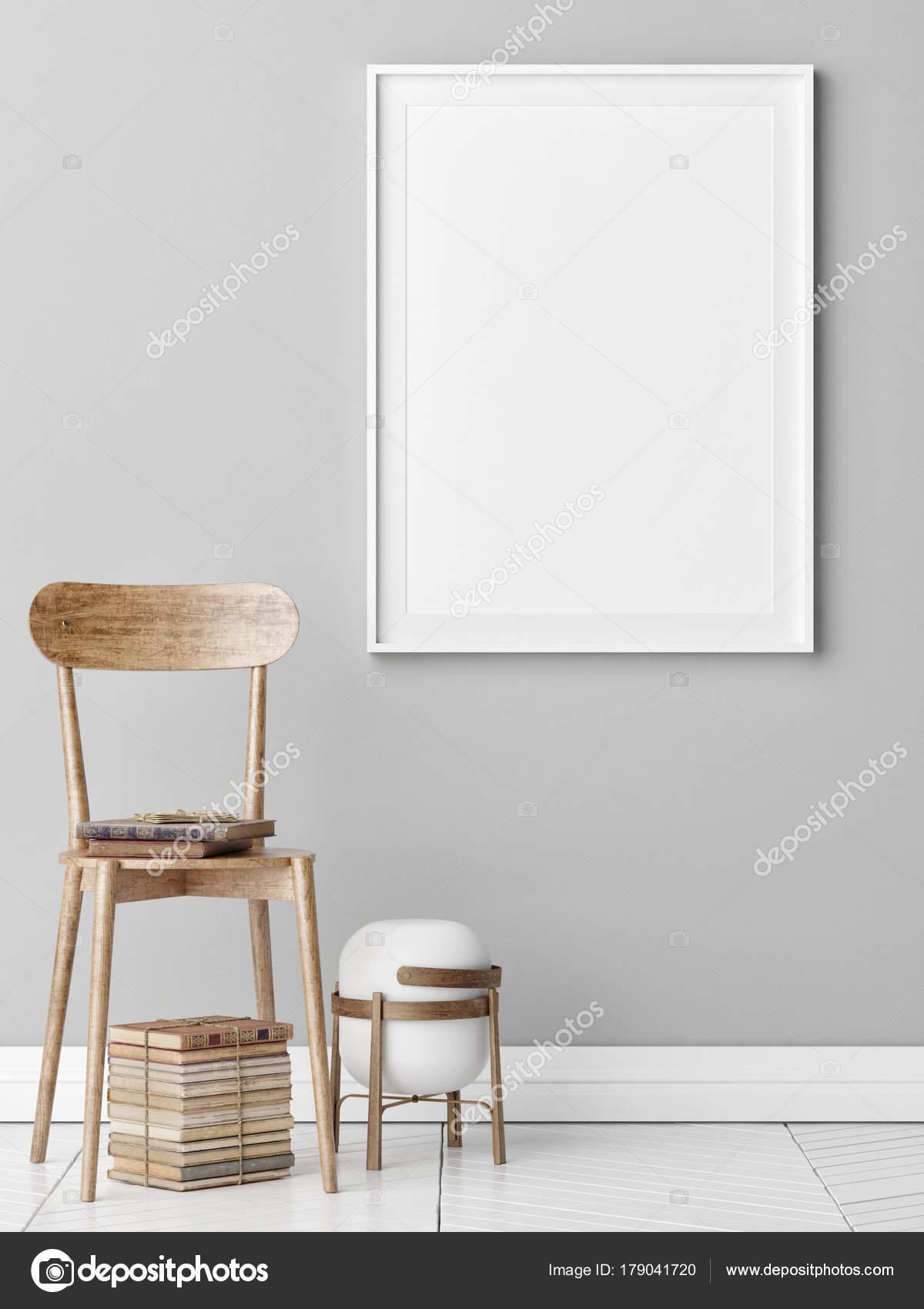 Mock Poster Furniture Composition Wooden Chair Old Books Render  Illustration U2014 Stock Photo