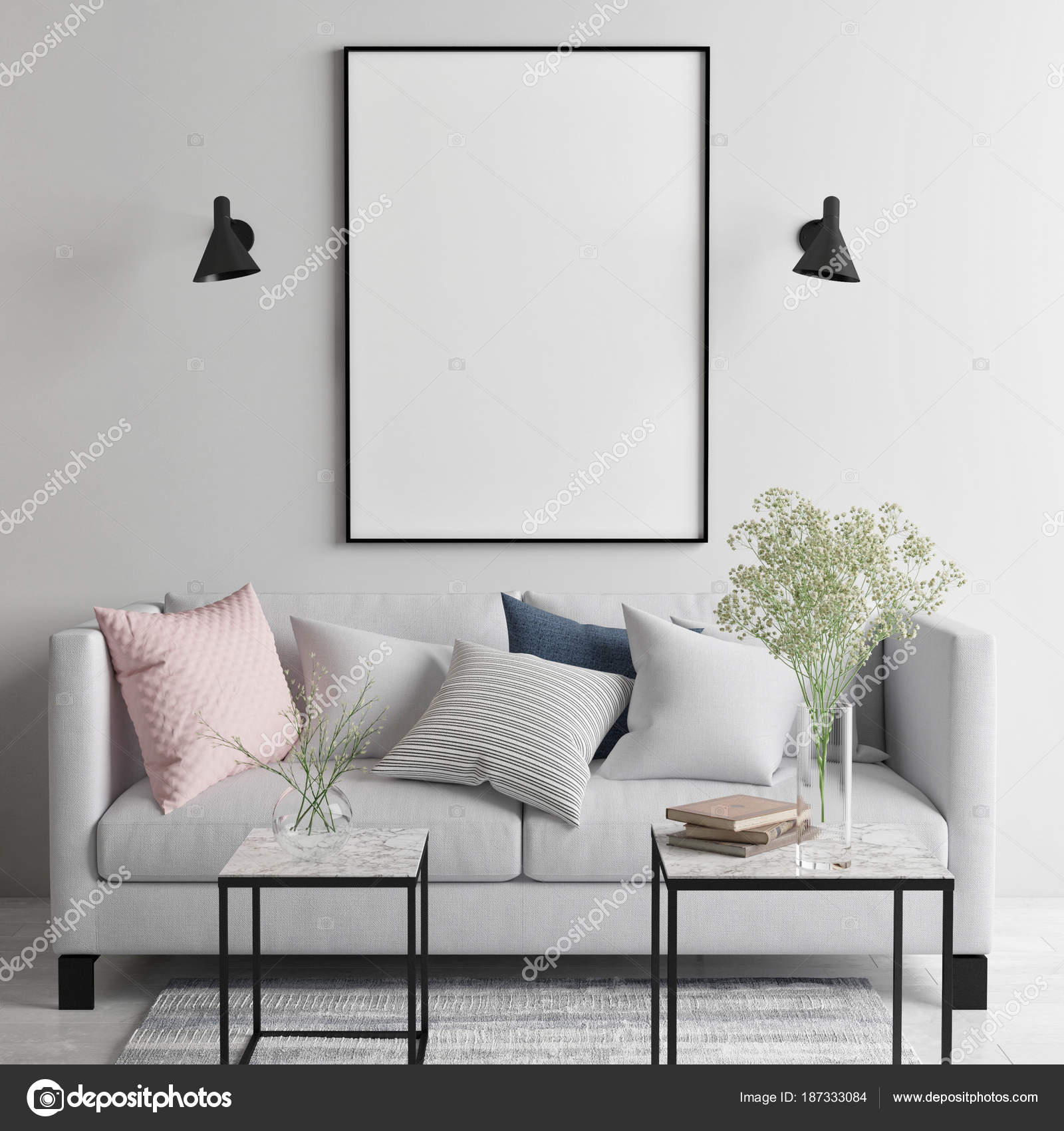 Mock Poster Scandinavian Living Room Your Art Work Here Render ...
