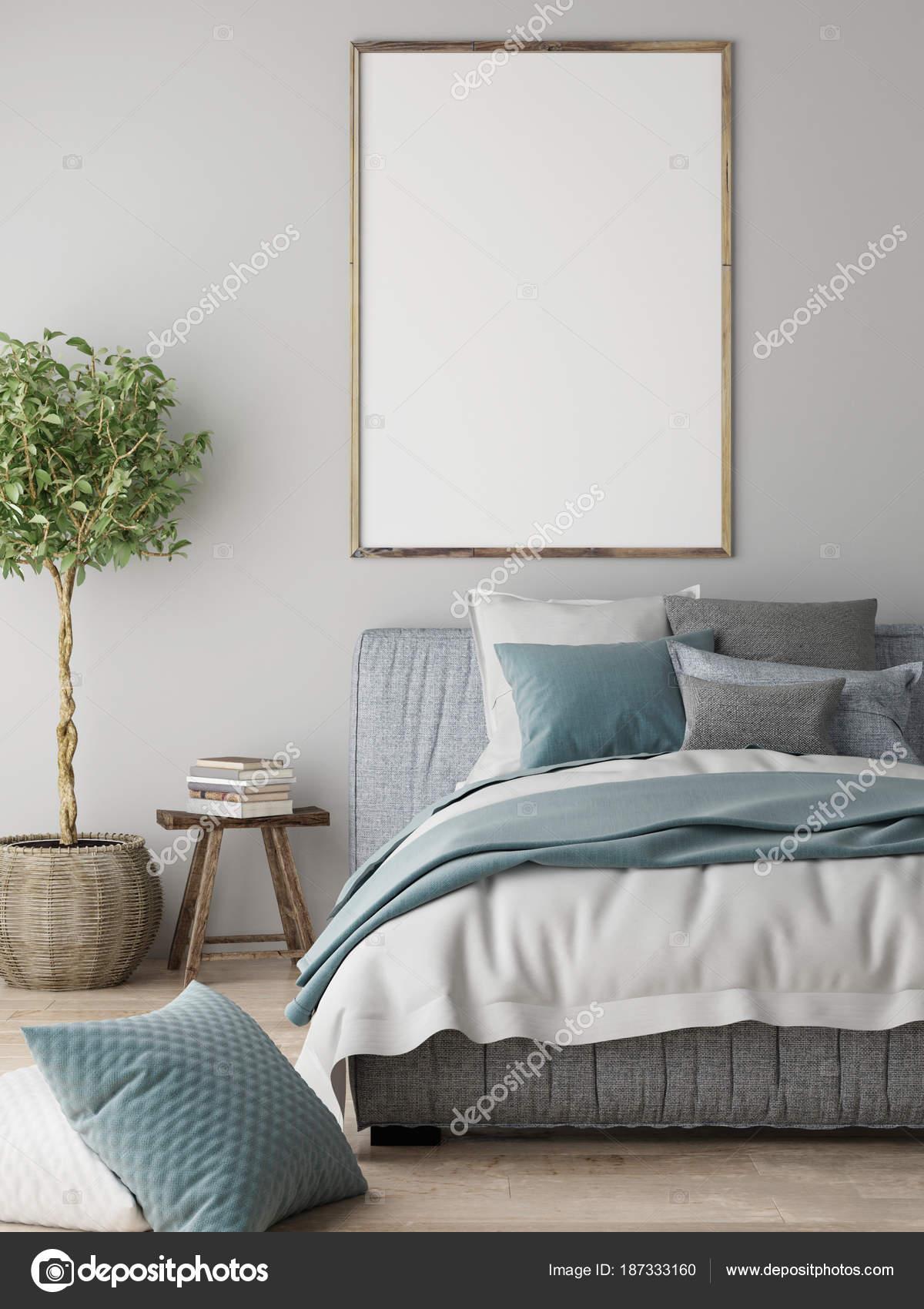 Mock Poster Schlafzimmer Innenraumkonzept Skandinavisches Design