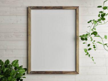Mock up wooden frame with golden lamp composition in font of gray wall, 3d redner, 3d illustration