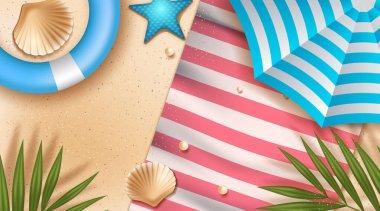 top view beach background with umbrellas,balls,swim ring. Vector illustration