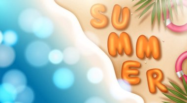 Summer vector banner design concept of 3d text. Vector illustration