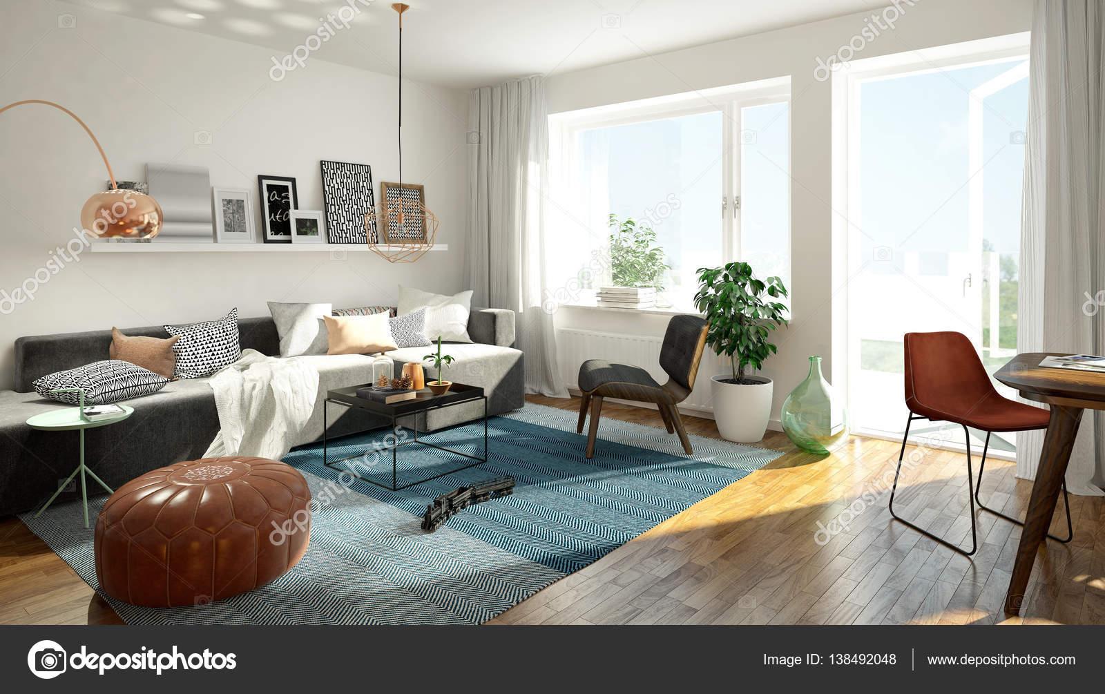 Scandinavische woonkamer — Stockfoto © imagewell #138492048