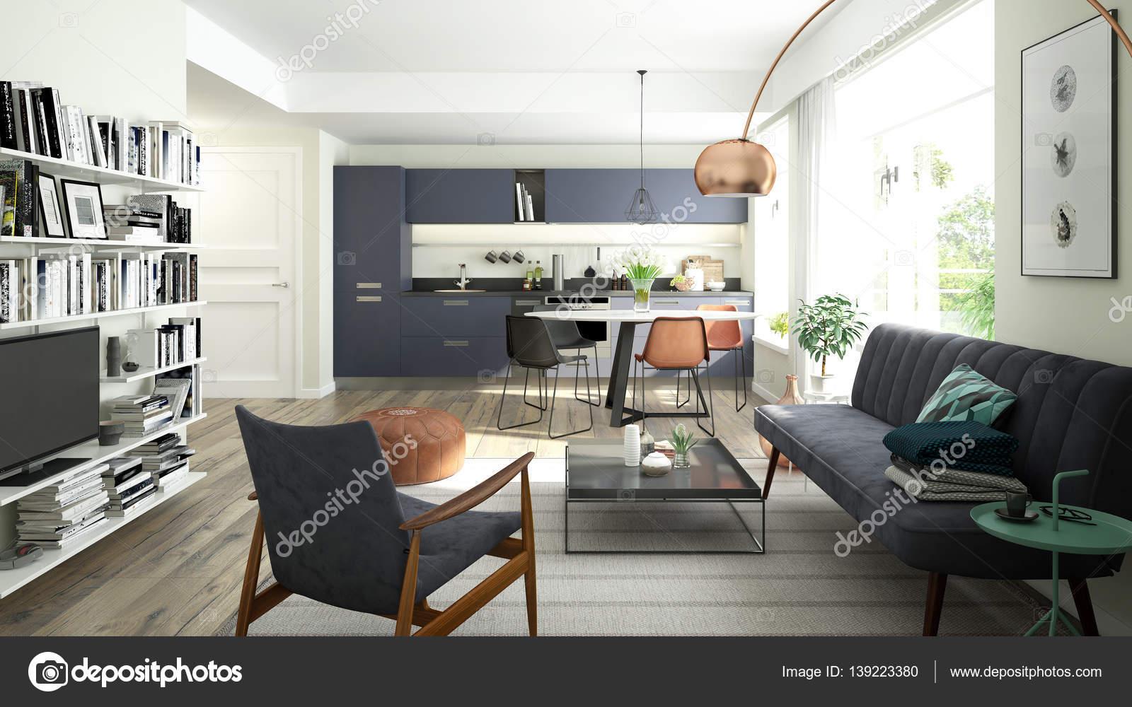 Moderne wohnzimmer mit offener küche  Modernes Wohnzimmer mit offener Küche — Stockfoto © imagewell #139223380