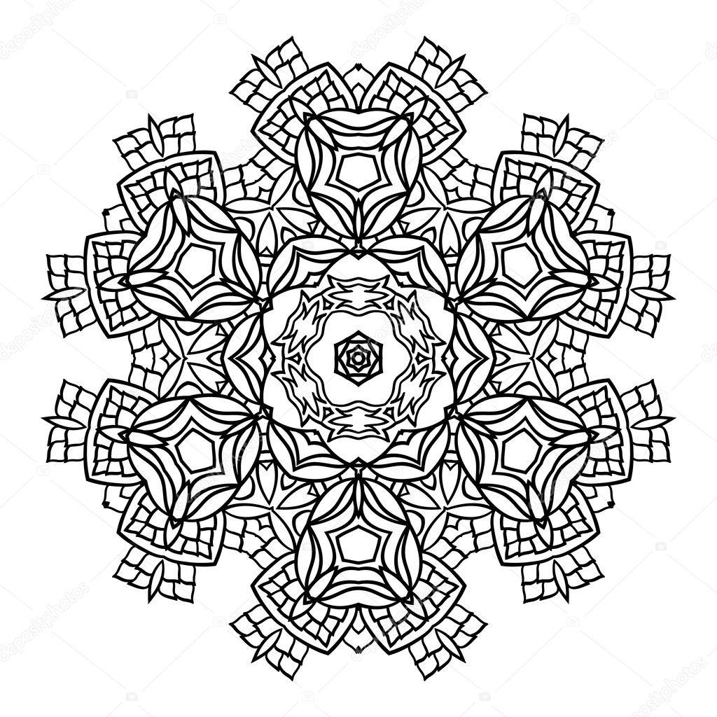 Mandala élément de décoration noir et blanc Image  colorier Flocon de neige — Image vectorielle