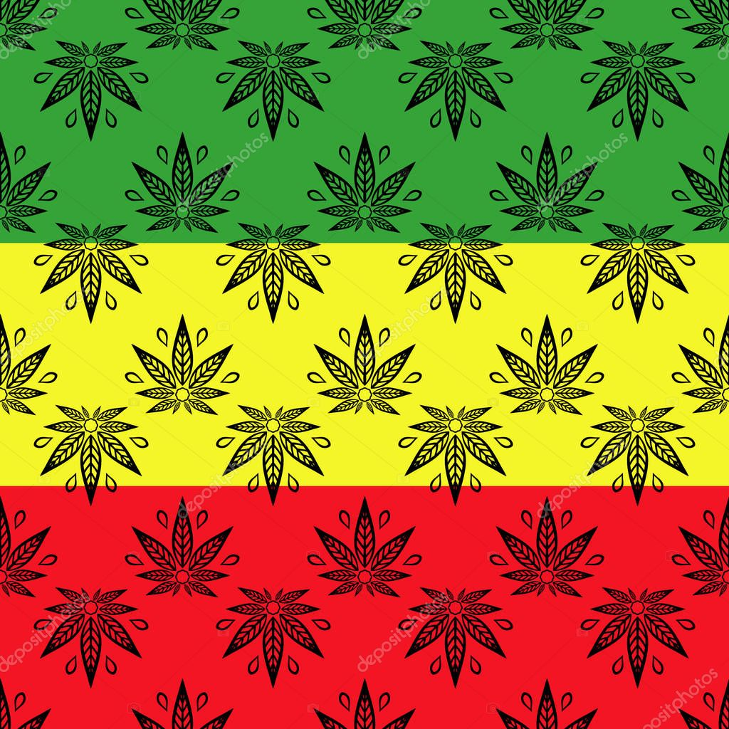 Seamless pattern with of cannabis leaves on a red yellow green background.