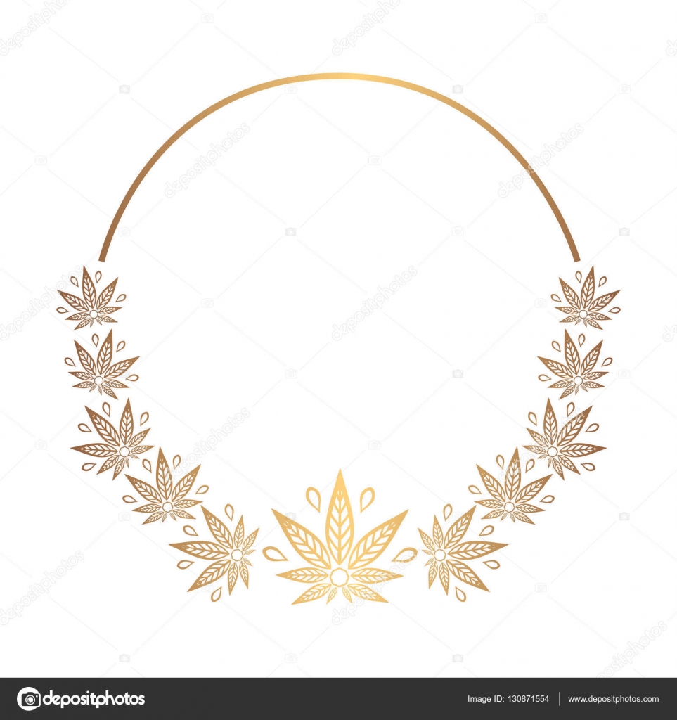 Round gold frame of cannabis. Border of stylized hemp leaf to create ...