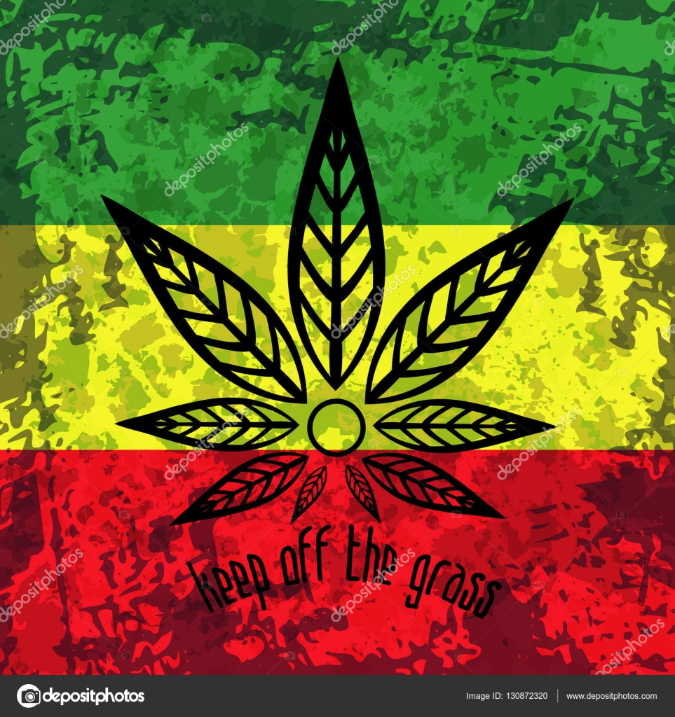 drapeau rasta vert jaune rouge fond du rastafarisme grunge avec le cannabis stylis e toile. Black Bedroom Furniture Sets. Home Design Ideas