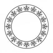 Fotografie Round frame of cannabis. Border of stylized hemp leaf to create promotional products, logos, decoration items.