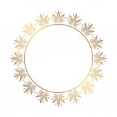 Fotografie Round gold frame of cannabis. Border of stylized hemp leaf to create promotional products, logos, decoration items.