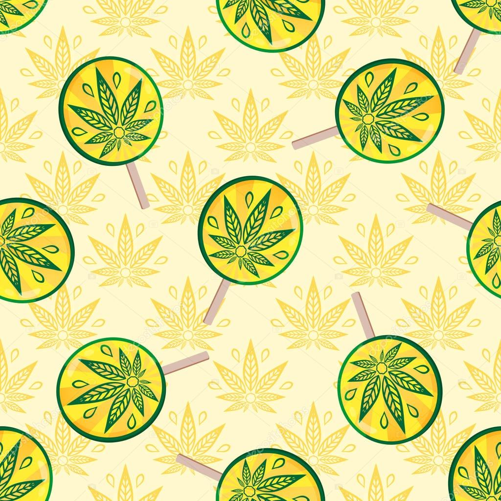 Seamless pattern with cannabis and sweets. Lollipops and rain cannabis. Retro pattern for design surfaces for adult products.