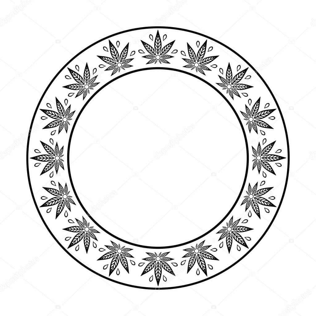 Round frame of cannabis. Border of stylized hemp leaf to create promotional products, logos, decoration items.