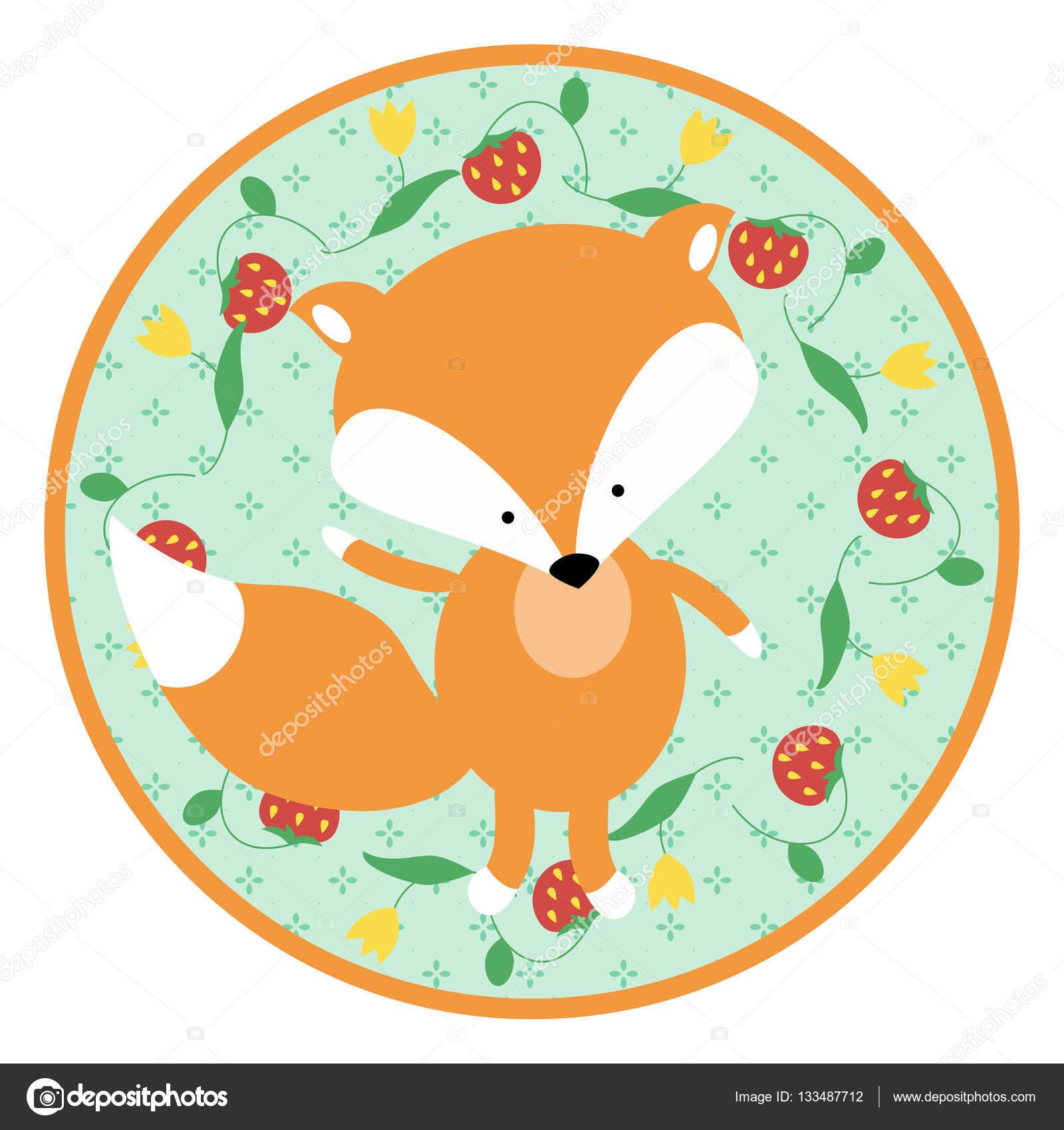 A cute little fox cub on a circular green background cartoon a cute little fox cub on a circular green background cartoon animal design for baby voltagebd Images