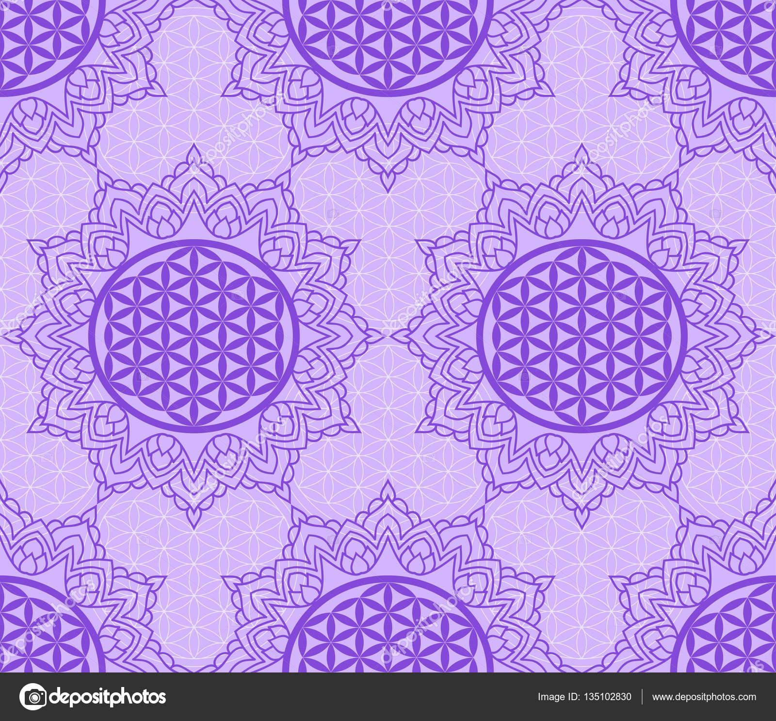 Mandala Flor De La Vida Patrón Sin Fisuras Con Un Símbolo Púrpura
