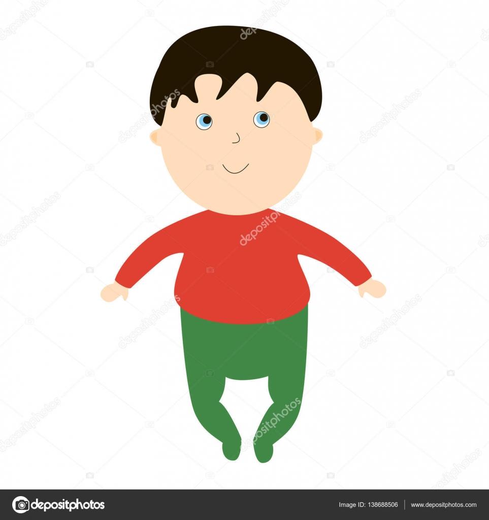 幼い少年の笑顔白い背景の上の子供のイラスト子供の漫画の