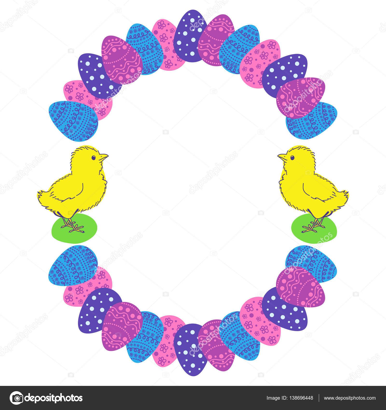 Ostereier und Huhn farbige Runde Bilderrahmen — Stockvektor ...
