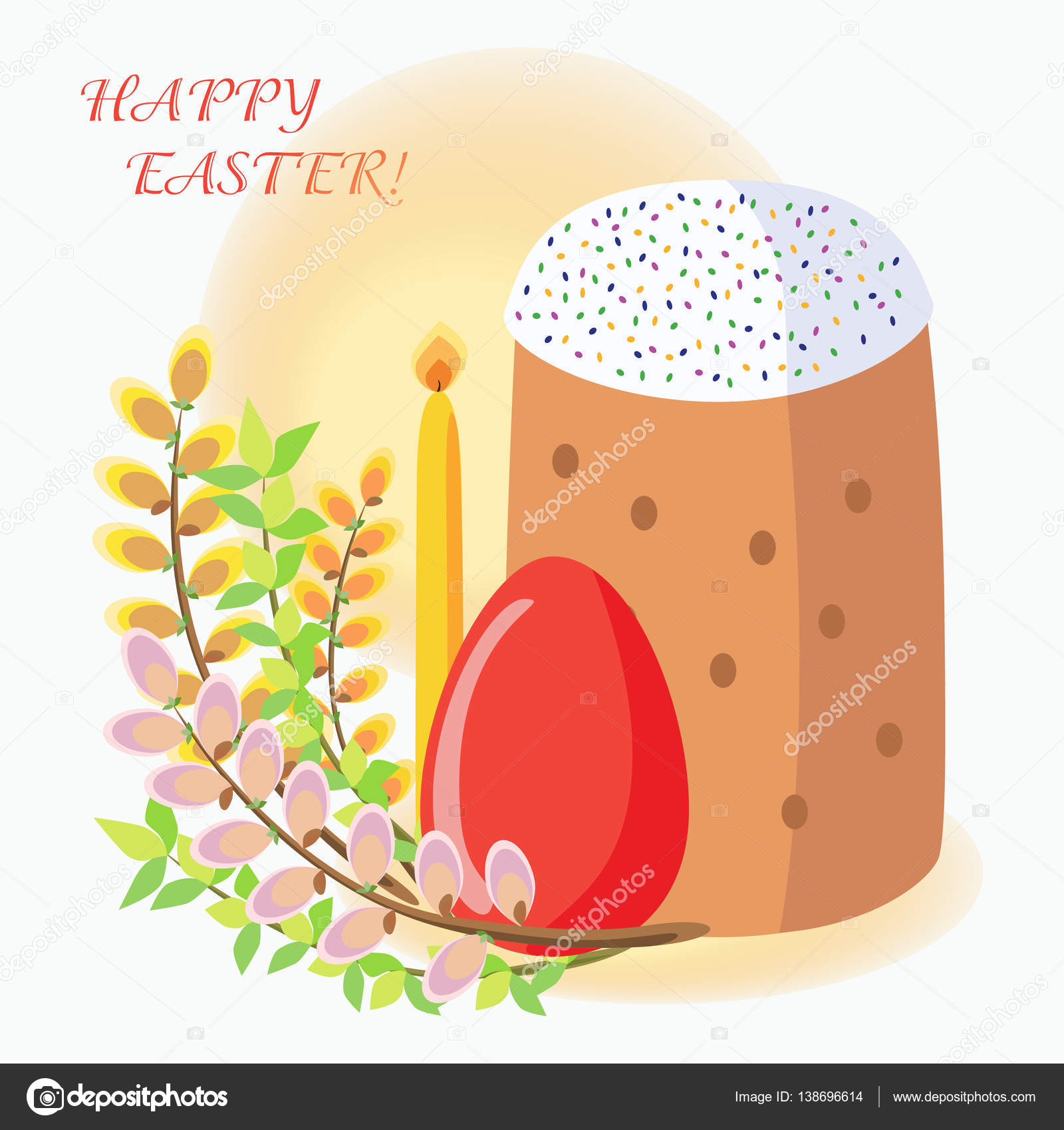 Easter greeting card with easter cakes eggs willow candles easter greeting card with easter cakes eggs willow candles traditional orthodox easter m4hsunfo