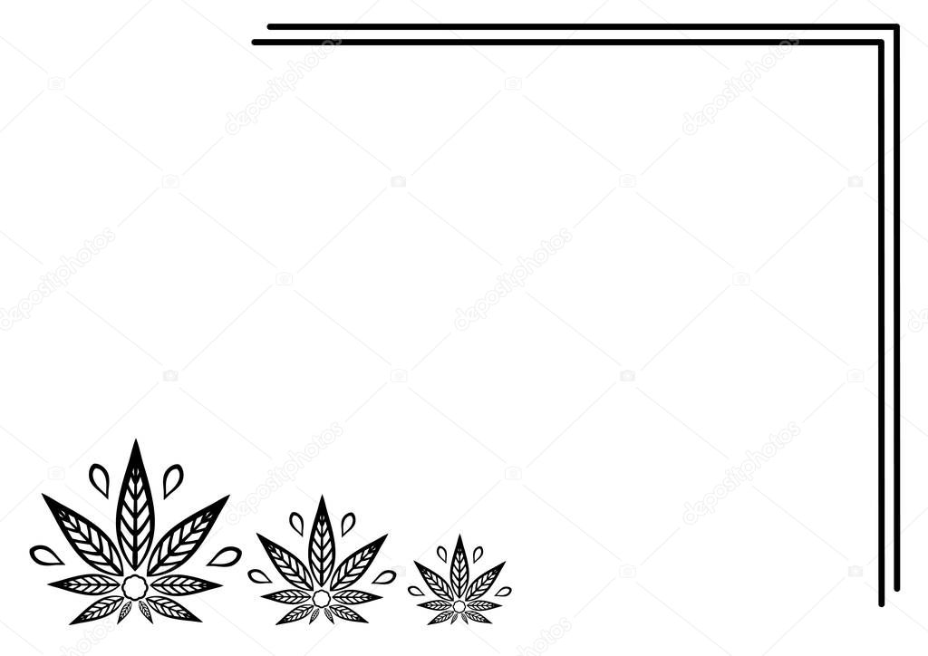 Rectangular frame of cannabis. Border of stylized hemp leaf to create promotional products, logos, decoration items.
