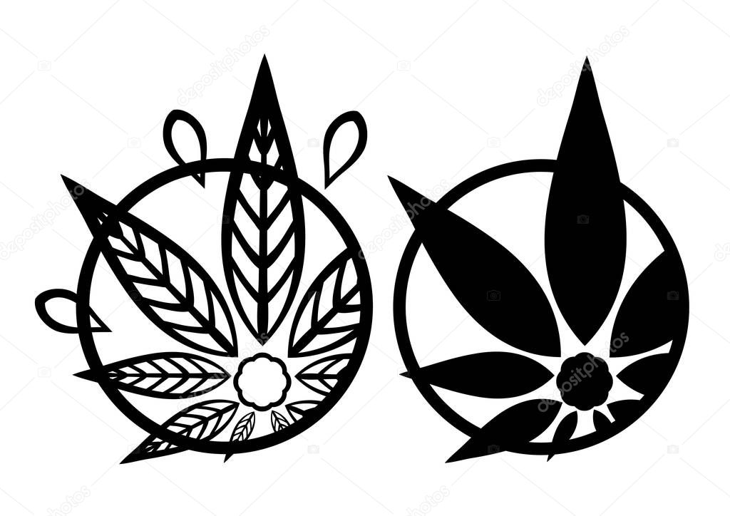 Cannabis black silhouette logo. Hemp asymmetrical icons. Sign T-shirts for design, creating corporate identity and promotional products.