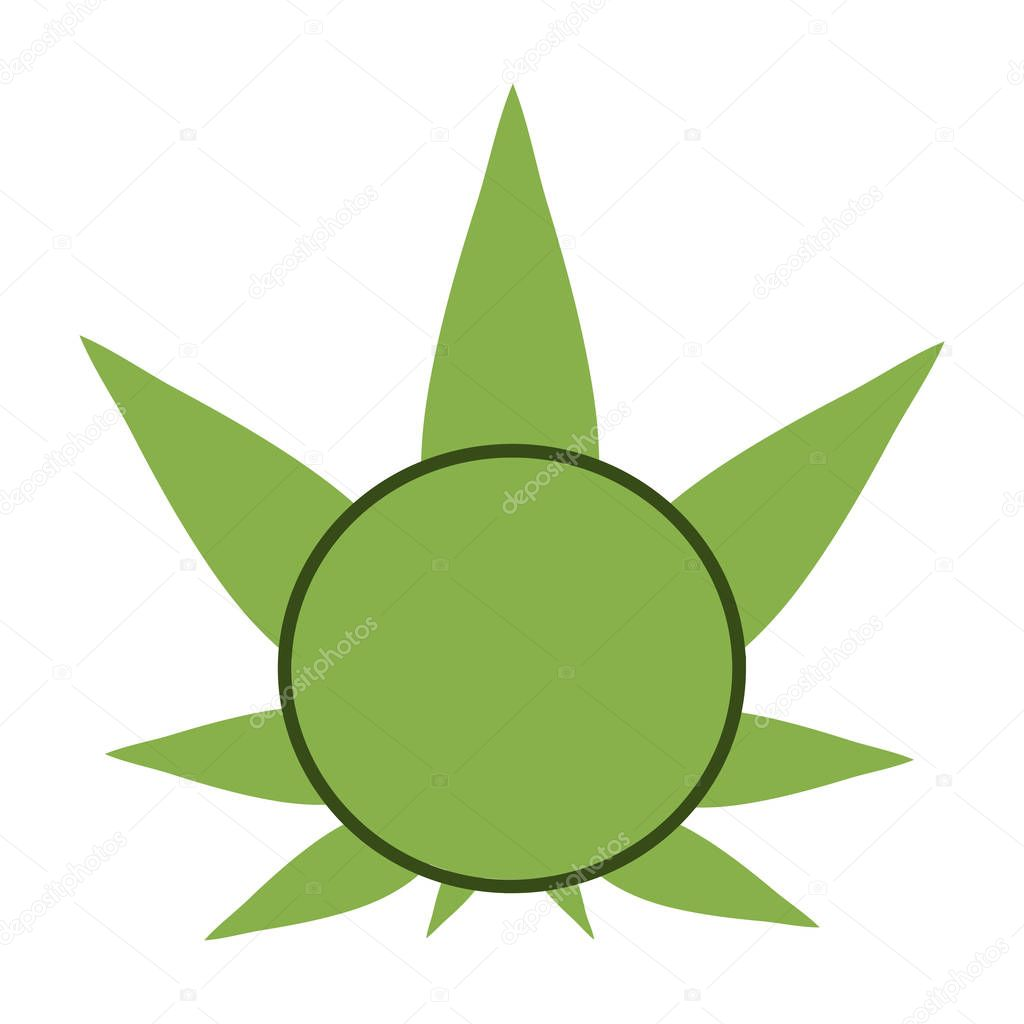 Cannabis green silhouette logo. Hemp symmetrical icons. Sign T-shirts for design, creating corporate identity and promotional products.