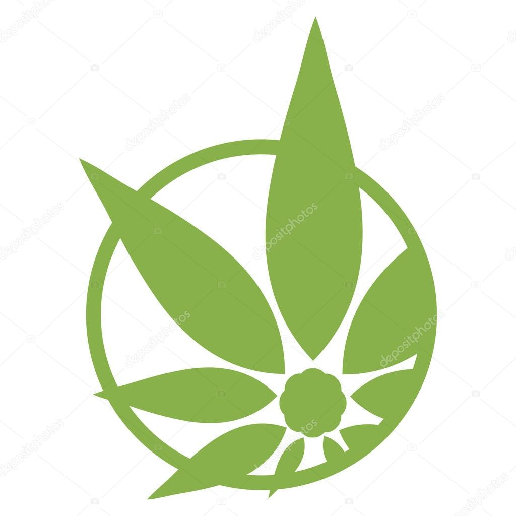Cannabis green silhouette logo. Hemp asymmetrical icons. Sign T-shirts for design, creating corporate identity and promotional products.