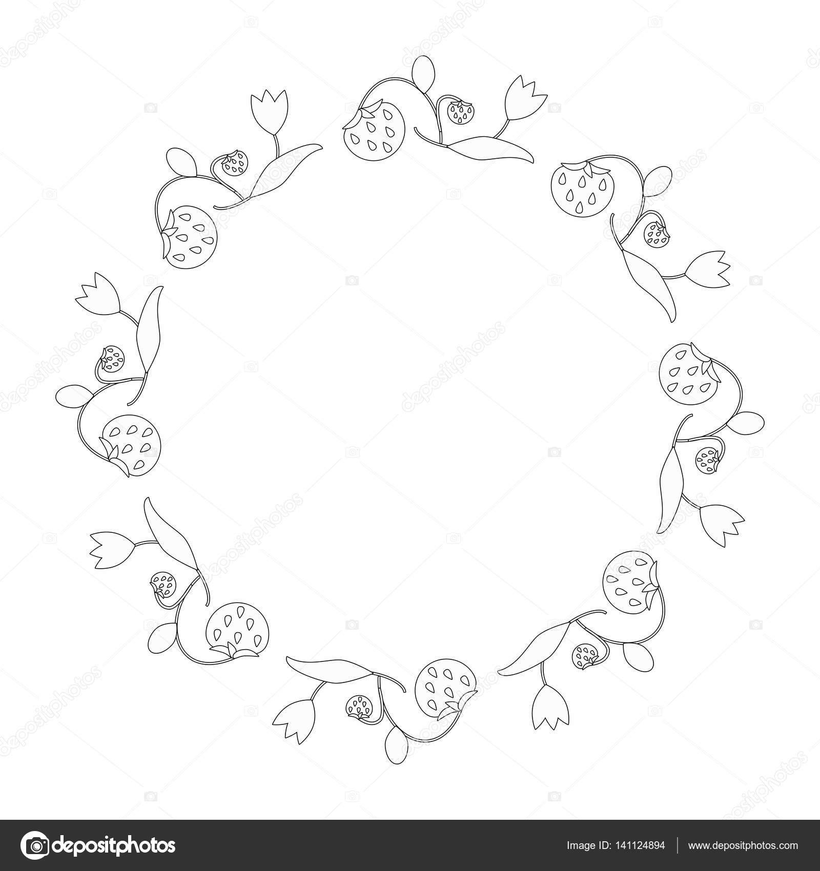 Ronda elegante marco el contorno de las flores y fresas. Decoración ...